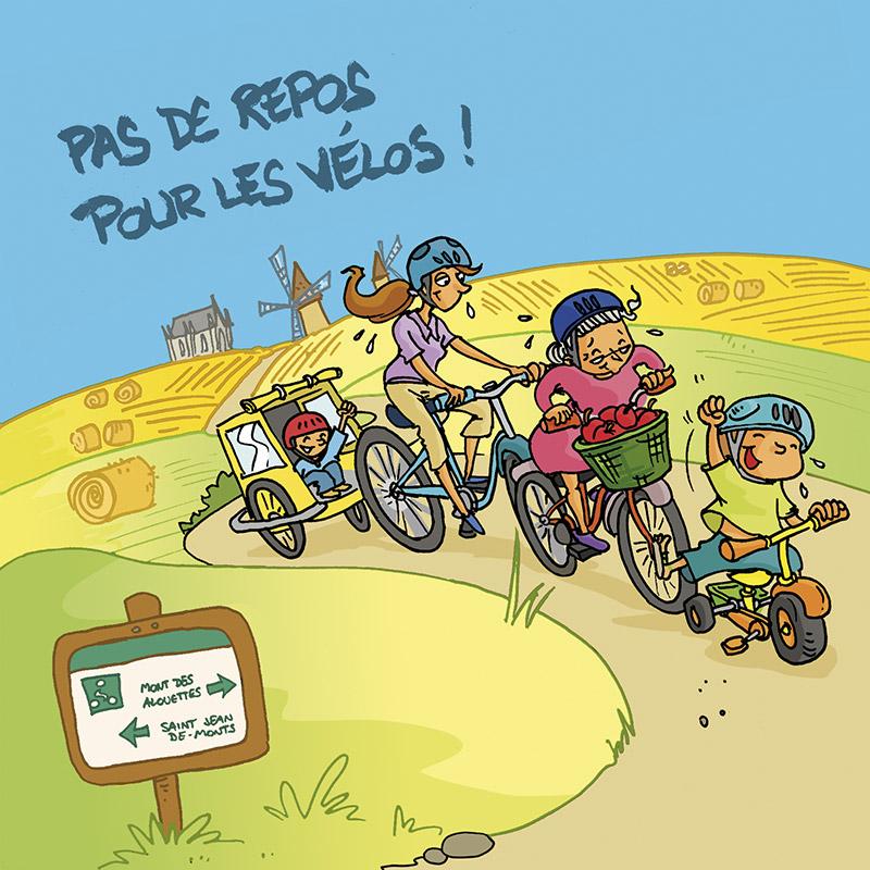 Carte postale balade v lo en vend e vend1 - Dessin cycliste humoristique ...